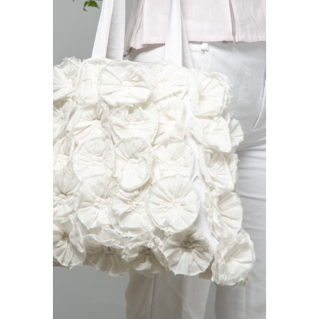sac Flower rosettes en coton blanc
