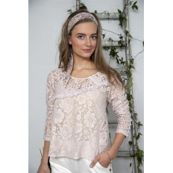 blouse Bohemian hearts in Powder rose cotton