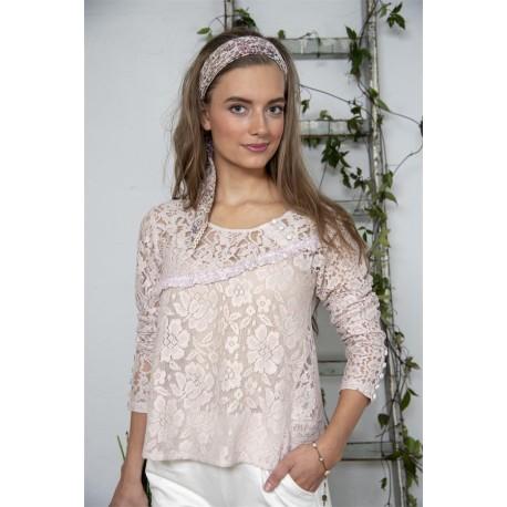 blouse Bohemian hearts in Powder rose cotton