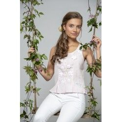 bustier Bohemian past en lin rose