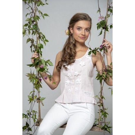 bustier Bohemian past en lin rose