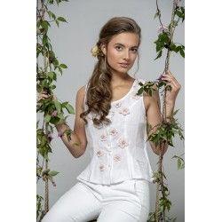 bustier Bohemian past en lin blanc