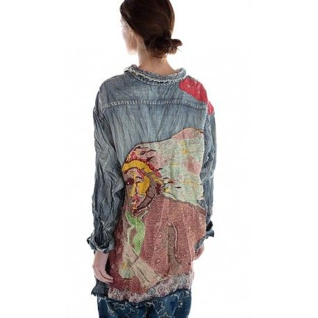 chemise Ceremony American Indian Embroidered Adison Workshirt in Washed Indigo