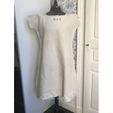 Vintage dress in thick linen with monogram B.G - 1