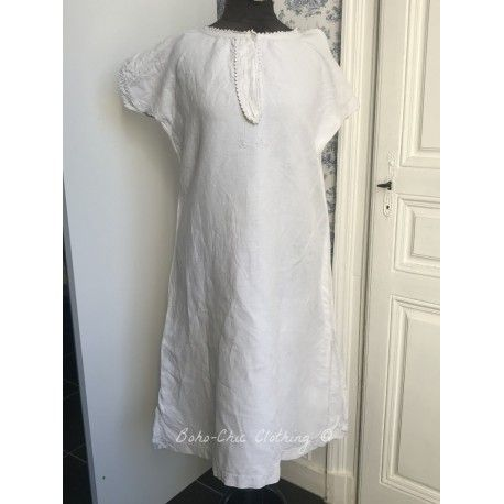 Vintage dress in thick linen with monogram A.C