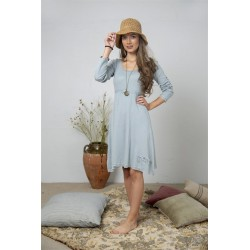 Long sleeve dress Joyful moods in Dusty blue cotton