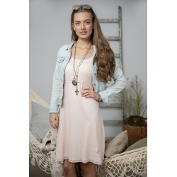 Simple strap dress Joyful moods in Powder rose cotton