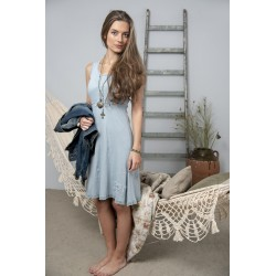 Wide strap dress Joyful moods in Dusty blue cotton