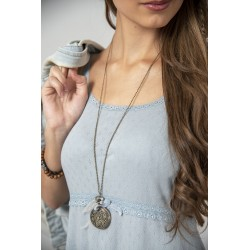 Simple strap dress Joyful moods in Dusty blue cotton