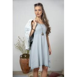 Spaghetti strap dress Joyful moods in Dusty blue cotton
