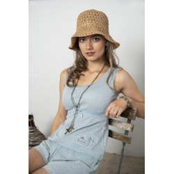 Wide strap top Joyful moods in Dusty blue cotton