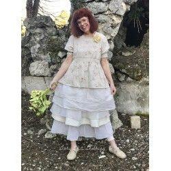 robe tunique réversible ANJA coton fleurs, dentelle et organza écru