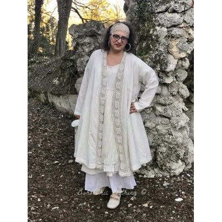manteau FANTINE crochet et lin écru
