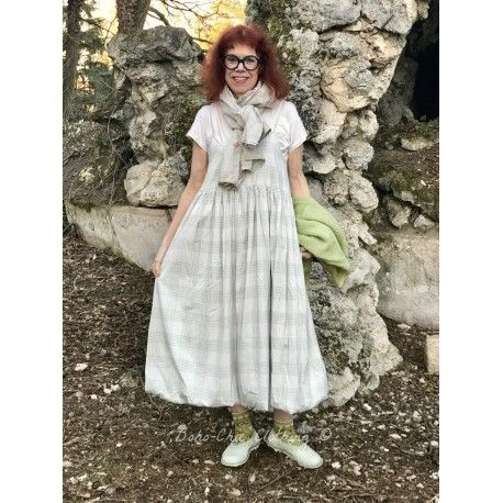 dress IRENE in green checked poplin