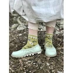 socks floral anklet in palm leaf cotton