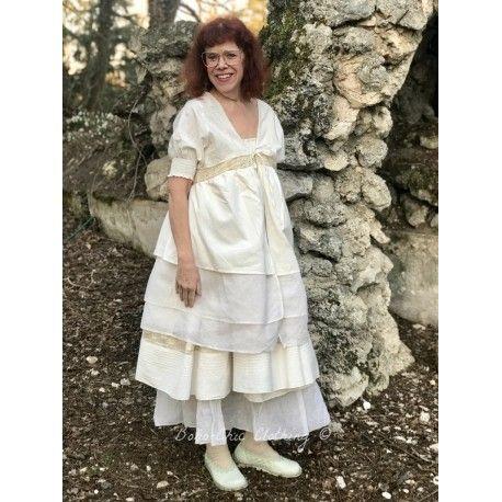 robe tunique réversible ANJA coton écru, dentelle et organza écru