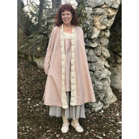 manteau FANTINE crochet et lin vieux rose