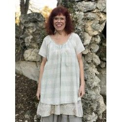 tunic FRANCINE in green checked cotton