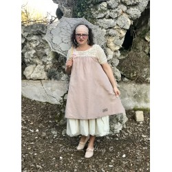 dress LOLITA in crochet and old pink linen
