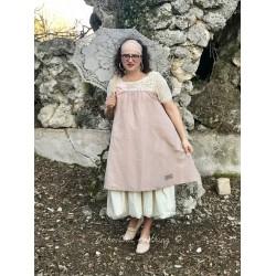 robe LOLITA crochet et lin vieux rose