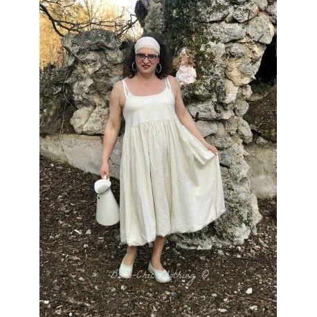 dress IRENE in ecru poplin
