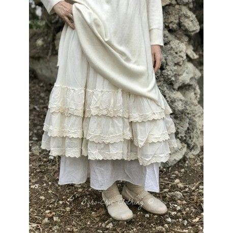 skirt / petticoat OCÉANE in ecru cotton tulle and lace