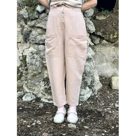 pantalon CALI lin vieux rose