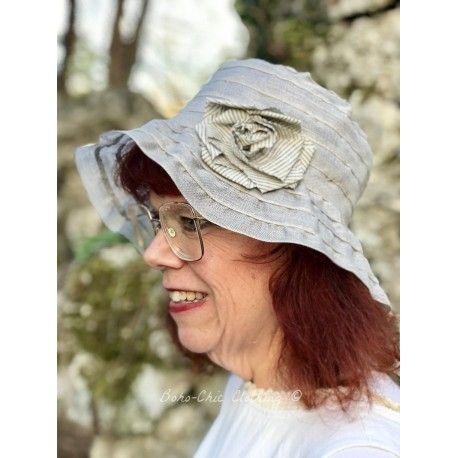 chapeau BARBARA en lin gris Grevi - 1