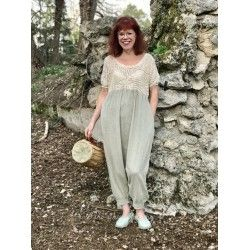 jumpsuit EULALIE in crochet and green water linen
