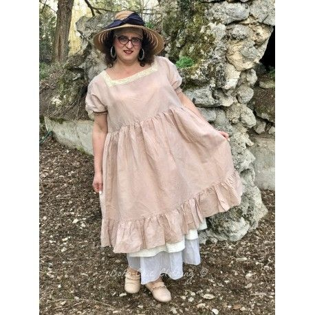 robe HONORINE lin vieux rose