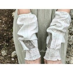 cuffs BLANDINE in green checked cotton