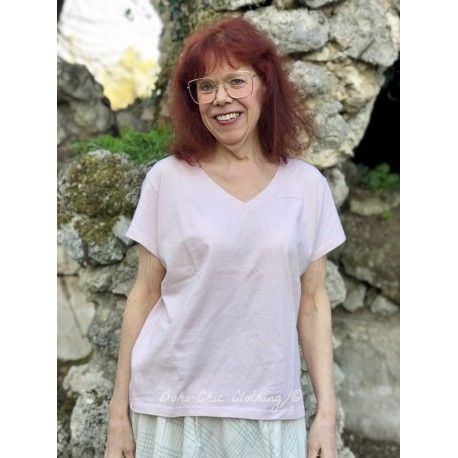 T-shirt short sleeve V-neck in blush cotton lisa b. - 1