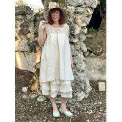 robe MARYSE crochet et lin écru