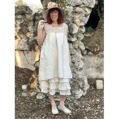 dress MARYSE in crochet and ecru linen