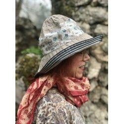 chapeau ROBERTA en couleur taupe et bleu