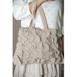 sac Flower rosettes en coton rose antique