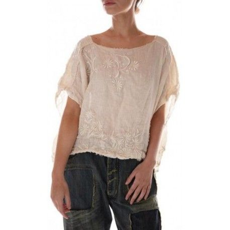 blouse Scattered Flower Embroidered Cropped in Moonlight