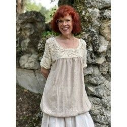 top AUDE in crochet and old pink linen