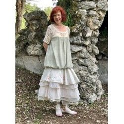 skirt / petticoat JENNYFER in floral cotton, pink checked and ecru organza