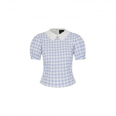 top Betty Vichy bleu ciel
