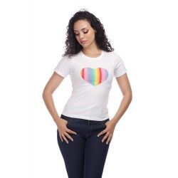 T-shirt Rainbow Love Blanc