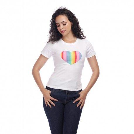 T-shirt Rainbow Love Blanc