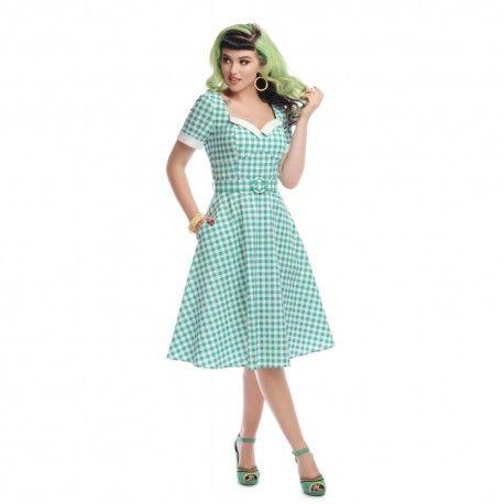 robe Roberta Vichy vert Collectif - 1