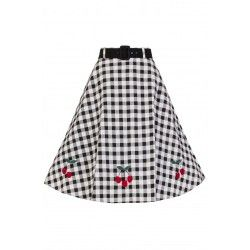 jupe Cherry Vichy noir et blanc