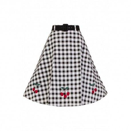 jupe Cherry Vichy noir et blanc Collectif - 1