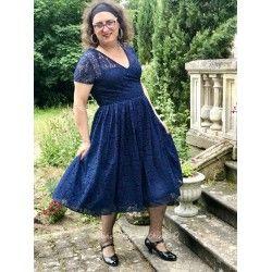 robe Nina dentelle bleue foncée