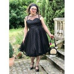 robe Faye Noir à pois floqués noirs