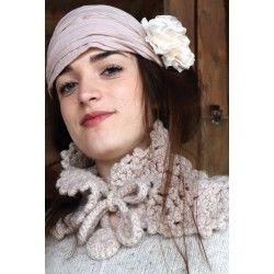 muffler scarf CUNEGONDE pink beige crocheted wool