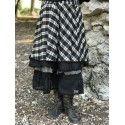 jupe jupon ALOISE coton et lin à carreaux noir et écru avec organza noir