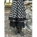 skirt petticoat ALOISE black and ecru checkered cotton and linen with black organza